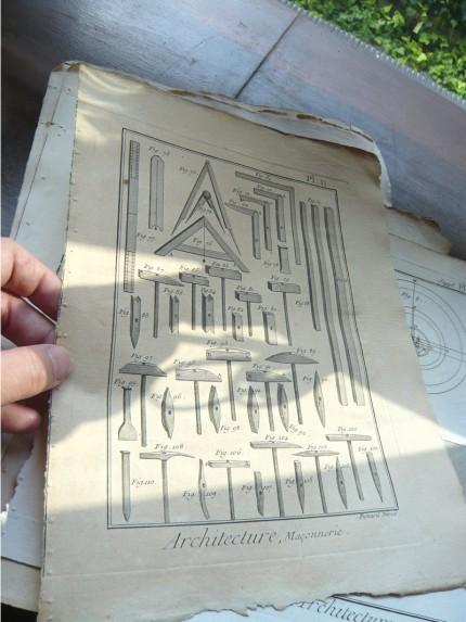 フランスの古いエッチング 工具カタログ